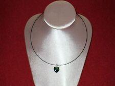 neckless NEW 17.5 Inches black cord sm green swarovski crystal heart pendant