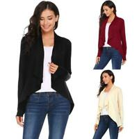 Women Casual Long Sleeve Asymmetrical Solid Ruched Open Front Cardigan EHE8 01