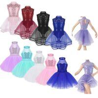 Kids Girls Shiny Sequins Leotard Dress Latin Ballet Lyrical Dancewear Costume