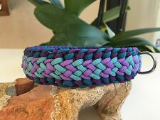 "Crown Trail Paracord Dog Collar-Purple/Teal 13""-16"""