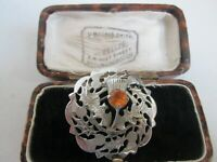 VINTAGE SIGNED MIZPAH AMBER GLASS SCOTTISH THISTLE SILVER TONE BROOCH COLLAR PIN