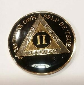 """2 Year AA Coin BLACK Enamel, Gold, Silver 1⅜"""" Traditional Size Recovery - TWO II"""
