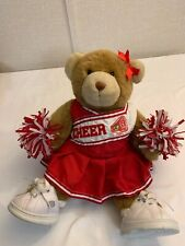BUILD A BEAR BROWN STUFFED TEDDY BEAR TWO CHEERLEADING OUTFITS, SHOES & POM POMS