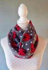 Grey ladybird snood neck warmer ladybug loop scarf grey/red cowl unisex gift