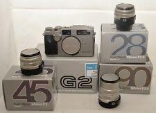 Contax G2 Corpo, 28mm, 45mm, 90mm + cinghia e scatole. KIT NUOVO E MAI USATO