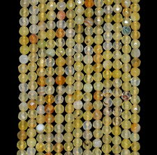 """4MM  AGATE GEMSTONE LIGHT YELLOW FACETED ROUND LOOSE BEADS 15"""""""