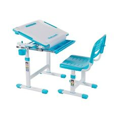 Kids Study Desk & Chair Set w/Paper Roll Holder B203 Height Adjustable Blue