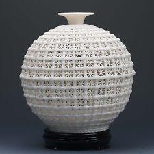 Chinese Dehua Porcelain Hand-carved  Hollowed Art White Vase G178.c