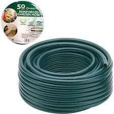 50M garden hose pipe reel reinforced tough 50 metre outdoor hosepipe green new