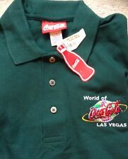 COCA COLA WORLD OF LAS VEGAS EMERALD GREEN GOLF POLO SHIRT MENS MED NWT @LOOK@
