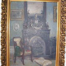 George M. ? Berliner Maler um 1920 JUGENDSTIL Interieur mit KAMIN ! Stuhl Kissen