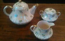 Shamrock Teapot Cream and Sugar Bowl Made in England Lusterware