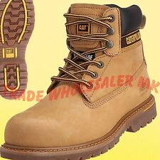 Caterpillar Mens Holton SB Safety BOOTS Textile Leather Rubber Sole Lace up Honey 12