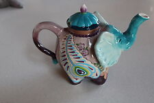 Blue Sky - Pretty As A Peacock Elephant Ceramic Teapot Figurine * New in Box *