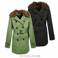 WOMENS LADIES BELTED TRENCH JACKET DOUBLE BREASTED FUR COLLAR MAC PADDED COAT