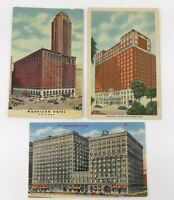 3 Vintage Linen Postcards Hotels in Chicago, Illinois All Posted 1950's