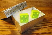 Lime GREEN LEGO Block Design Cuff links 1 Pair (Two) Hamilton Silver Plated