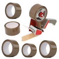 Tape Dispenser Gun + 3 Rolls Buff Brown Parcel Packing Packaging Tape 50mm X 66M