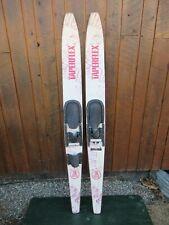 """VINTAGE Set of Wooden 67"""" Long Waterskis Water Skis TAPERELEX"""