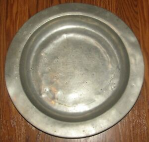 """Antique late 17th Century Pewter Charger Plate London Hallmarked Signed 14 1/2"""""""