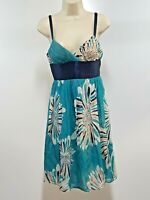 Catherine Malandrino Womens Sun Dress (P) Teal Blue Floral Sleeveless Summer 2