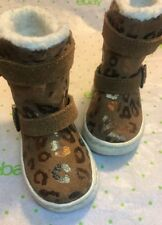 STRIDE RITE SAFI Brown Leopard Leather Boots Infant Toddler Size 4M