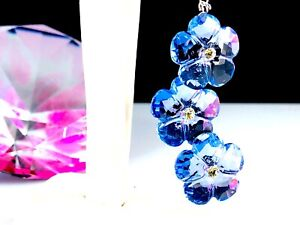 NIB SWAROVSKI BLUE CRYSTAL ARCTIC FLOWERS SUN CATCHER RETRACTABLE ORNAMENT