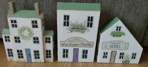 3 BOB HUFFMAN Hand-Painted Wood Block Folk Art Houses
