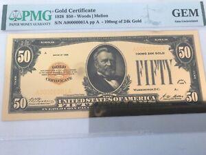 1928 $50 WOODS MELLON GOLD CERTIFICATE NICE GEM.