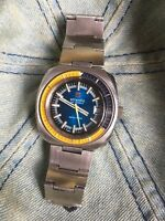Rare! Atlantic Seahunter Vintage Mens Diver Watch 38mm Steel Case ETA 2784