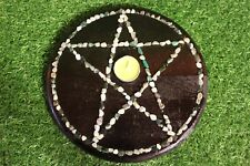 Portable Pagan Pentacle Altar Board With Tealight Candle & Tumble Stones