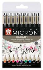 Sakura Pigma Micron Fineliner Drawing Pens Set of 9 Assorted Colours (#05 Nib)