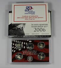 2006-S US Mint 50 State Quarters 90% Silver Proof Set Box & COA (A-381)