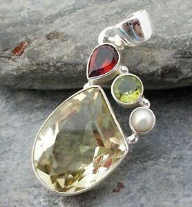 925 Silver Yellow CITRINE QUARTZ Garnet Peridot Pendant P156~Silverwave*uk
