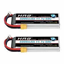 HRB 2Pcs 5000mAh 50C 3S 11.1V Lipo Battery with XT60 / EC3 / Deans / Traxxas /