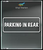Parking in Rear Business Store Sign Vinyl Decal Sticker Window Door