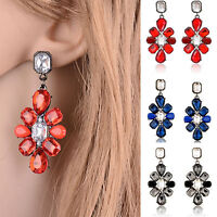 Elegant Women Rhinestone Resin Flower Ear Stud Eardrop Dangle Earring Jewelry