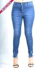 Pink Diva - Light Distressed Hem Jeans PLUS Size