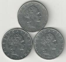 3 DIFFERENT 50 LIRE COINS from ITALY (1976, 1977 & 1978)