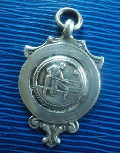 Vintage Sterling Silver Watch Fob Medal - Snooker Billiards Pool  h/m 1924