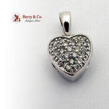 Heart Shaped Pendant Full Cut Diamonds 14K White Gold