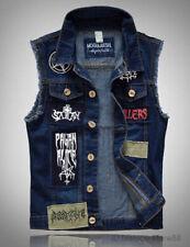 Men Patch Denim Vest Jean Jacket Waistcoat Sleeveless Vintage Punk Casual Jacket