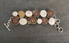 76 Gram,Natural Ammonite Shell, Shiva Eye Cab Handmade Fashion Jewelry Bracelet