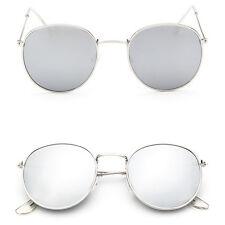 Fashion silver Oversized Round Sunglasses Men Women's Vintage Mirror Glasses