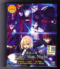 FATE/STAY NIGHT SEASON 1-3*TV 1&2*50 EPISODES/MOVIE*ANIME DVD*ENG SUBS*US SELLER