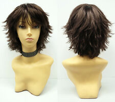 Brown Short Wig Shag Pixie Wind Blown Synthetic Cosplay Anime Lolita Costume
