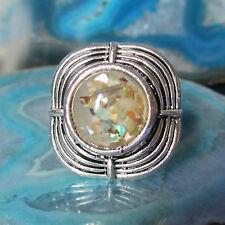 Ring Vintage Stil Tibet Silber quadratisch umlaufend Muschel Perlmutt farbig