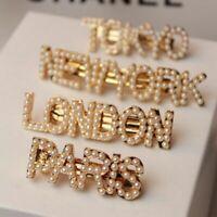 Fashion Women Girl Pearls Hair Clips Hairpin Retro Letters Headwear Accessories