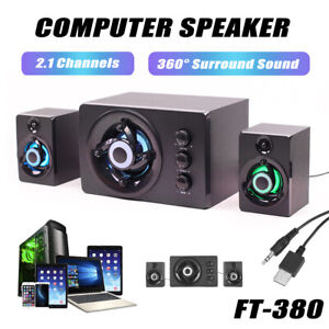 FT-380 2.1 Computer Speaker Mini Subwoofer Multimedia with LED Light Laptop PC