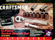 STANDARD Craftsman 12-Piece Socket Wrench Set (NEW) Six-Point Sockets with Case